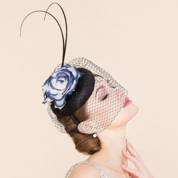 Elegant Lady Silk Flower Bridal Veil Fascinator Formal Wedding Tea Party Hair Hoop Pillbox Hat - BLUE