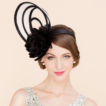 Elegant Lady Feathered Flower and Hoop Design Banquet Party Black Fascinator Cocktails Hat