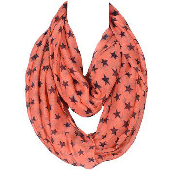 Stylish Women's Five-Pointed Stars Pattern Voile Circle Loop Infinite Scarf