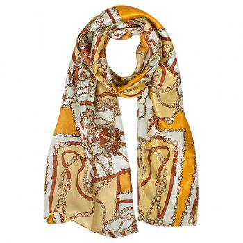 Stylish Bohemian Ethnic Belt Chain Pattern Women's Silky Satin Scarf
