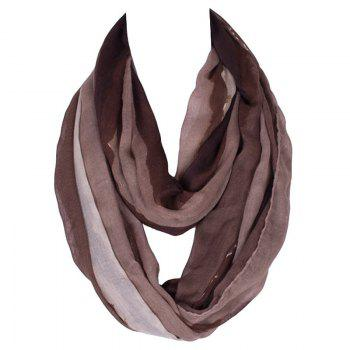 Stylish Women's Wave Stripe Pattern Voile Circle Loop Infinite Scarf