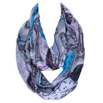 Stylish Women's Leopard Patchwork Pattern Voile Circle Loop Infinite Scarf