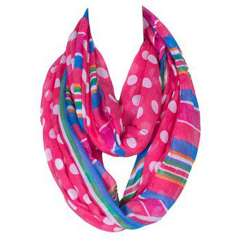 Stylish Women's Big Polka Dot and Stripe Pattern Voile Circle Loop Infinite Scarf