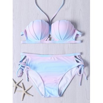 Cute Self Tie Halter Neck Ombre Design Bikini Set