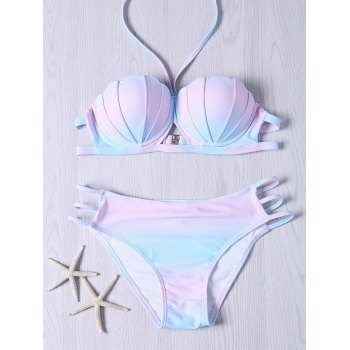 Sweet Ombre Design Halter Neck Bikini Set