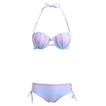 Stylish Halter Neck Ombre Design Beaded Bikini Set