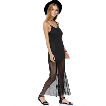 Attractive Spaghetti Straps Mesh See-Through Solid Color Dress For Women - XL XL
