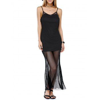 Attractive Spaghetti Straps Mesh See-Through Solid Color Dress For Women - BLACK S