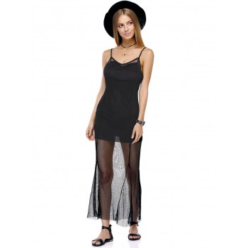 Attractive Spaghetti Straps Mesh See-Through Solid Color Dress For Women - S S