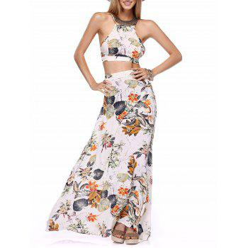 Buy Back Lace-Up Cross Crop Top High-Waist Maxi Skirt Twinset WHITE