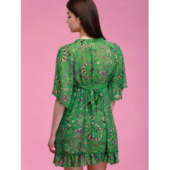 Chic Plunging Neck Ruffle Hem Flare Sleeves Printed Dress For Women - GREEN XL
