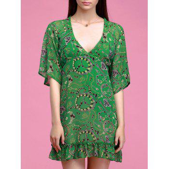Chic Plunging Neck Ruffle Hem Flare Sleeves Printed Dress For Women