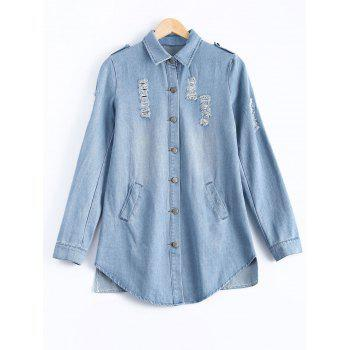 Button Design Wash Bleach Ripped Denim Shirt