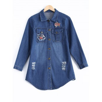 Ripped Embroidery Button Design Denim Shirt