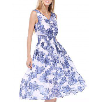 Sweet Women's V-Neck Floral Print High Waist Sleeveless Dress