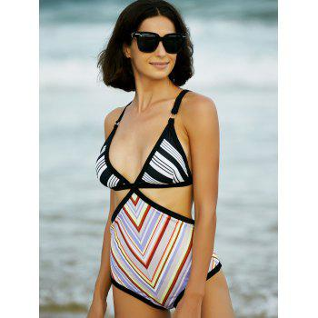 Stylish Cut Out Geometrical Print One Piece Swimwear For Women - COLORMIX XL