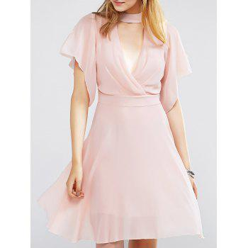 Sweet Choker Surplice Nipped Waist Women's Dress