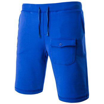 Solid Color Stylish Lace-Up Pocket Design Straight Leg Men's Shorts