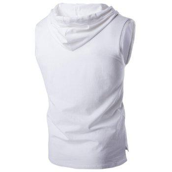 Stylish Hooded Solid Color Sleeveless Men's T-Shirt - WHITE XL