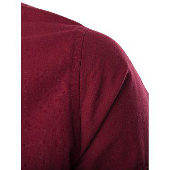 Rib Spliced Stylish Solid Color Stand Collar Long Sleeve Jacket - RED 2XL