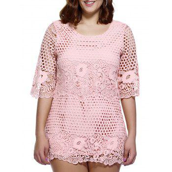 Stylish Women's Plus Size Cutwork Lace Overlay Dress