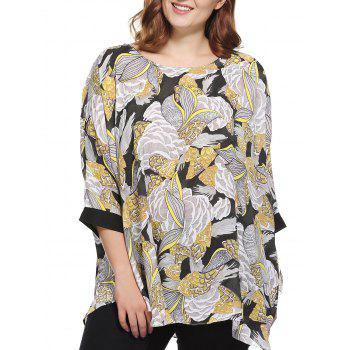 Stylish Women's Plus Size Scoop Neck Floral Print Blouse