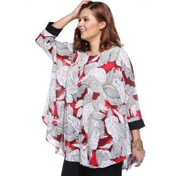 Stylish Women's Plus Size Scoop Neck Floral Print Blouse - RED ONE SIZE(FIT SIZE L TO 3XL)