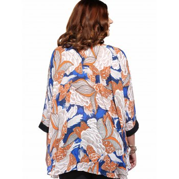 Stylish Women's Plus Size Scoop Neck Floral Print Blouse - ORANGE ONE SIZE(FIT SIZE L TO 3XL)