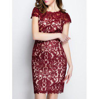 Trendy Solid Color Lace Bodycon Dress