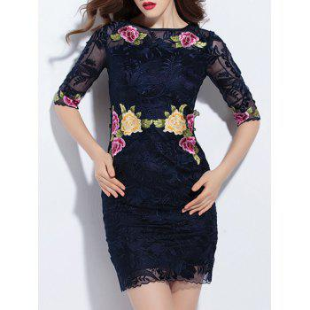 Trendy Embroidered Lace Bodycon Dress