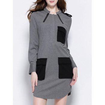 Trendy Stand Collar Pocket Design Slit Dress