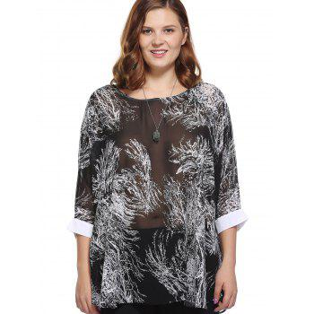 Stylish Women's Loose-Fitting Scoop Neck Tree Print Top - BLACK ONE SIZE(FIT SIZE L TO 3XL)