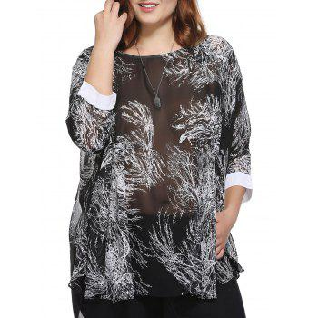 Stylish Women's Loose-Fitting Scoop Neck Tree Print Top