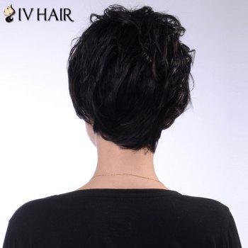 Ladylike Short Siv Hair Human Hair Fluffy Wave Capless Wig For Women - GOLDEN BROWN/BLONDE