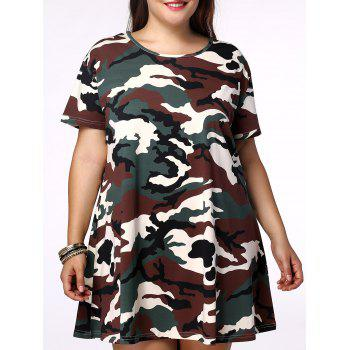 Plus Size Camo Printing Short Sleeves Dress