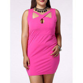 Fashionable Plus Size V-Neck Cut-Out Sleeveless Dress For Women