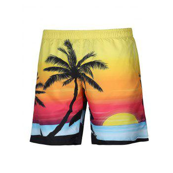 Casual Lace Up Straight Leg Coconut Palm Printed Boardshorts