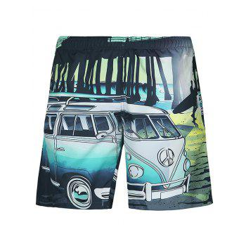 Casual Straight Leg Car Printed Lace Up Boardshorts
