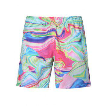 Casual Straight Leg Painting Lace Up Boardshorts