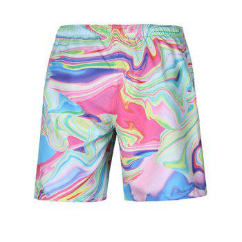 Casual Straight Leg Painting Lace Up Boardshorts - COLORFUL 2XL