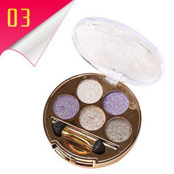 Cosmetic 5 Colours Long Wear Brightening Shimmery Diamond Eyeshadow Palette with Brush