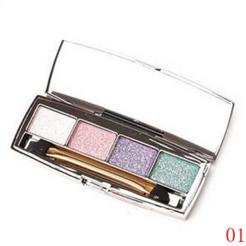 Cosmetic 4 Colours Earth Colors Brightening Shimmery Diamond Eyeshadow Palette with Mirror and Brush
