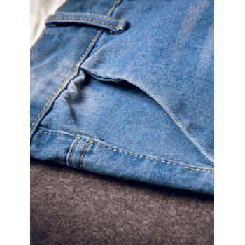 Fashion Straight Leg Cat's Whisker and Hole Design Men's Fitted Zipper Fly Jeans - BLUE 29