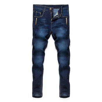 Buy Simple Straight Leg Cat's Whisker Rivets Embellished Fitted Men's Zipper Fly Jeans DEEP BLUE