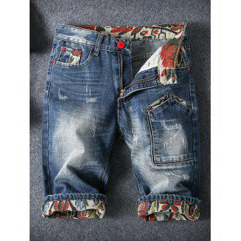 Embroidery Cat's Whisker Design Fitted Straight Leg Zipper Fly Men's Denim Shorts
