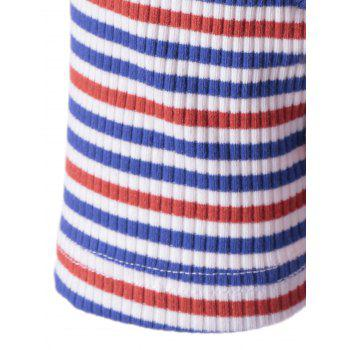 Stylish Stripe Knitting Tee For Women - COLORMIX S