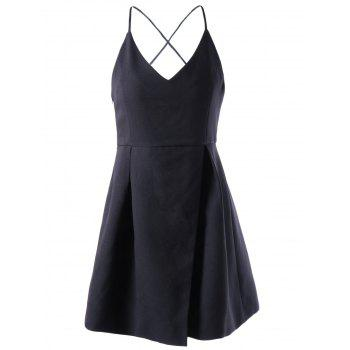 Stylish Black V-Neck Spaghetti Straps Dress For Women