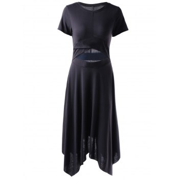 Stylish Black Tight Hem Irregular Dress For Women