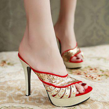 Trendy Sequins and Stiletto Heel Design Women's Slippers
