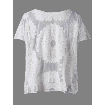 Casual Women's Scoop Neck Lace Batwing Sleeves Blouse - BEIGE ONE SIZE(FIT SIZE XS TO M)